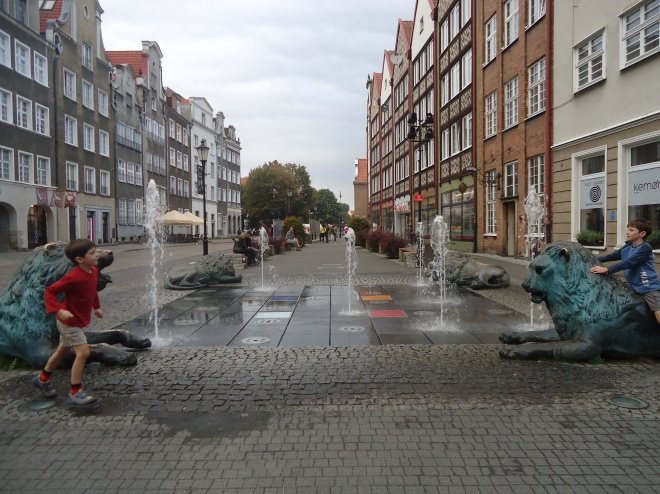 Lion fountain in Gdańsk,